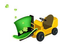 Yellow Forklift Truck Loading Four Leaf Clovers Royalty Free Stock Photos