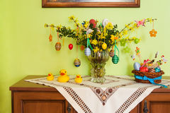 Yellow forsythia flowers and easter decoration Royalty Free Stock Photography