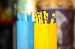 Yellow fortune stick. At a temple, china royalty free stock images