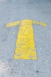 Yellow forward arrow direction Royalty Free Stock Photography