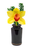 yellow för blommaorchidvase Arkivbilder