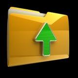 yellow för pilmappsymbol Arkivfoton