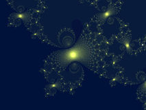 Yellow Fractal Burst. Pattern on blue background Royalty Free Stock Image
