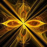 Yellow Fractal Flower With Cross Under Stock Photos