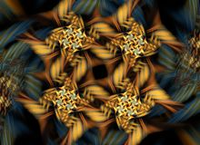 Yellow fractal pattern. Fractal of yellow with black flowers on abstract blurred background vector illustration