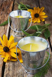Yellow fragrant candles Royalty Free Stock Photo