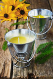 Yellow fragrant candles Stock Images