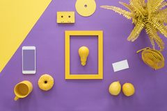 Free Yellow Frame On Violet Background Stock Image - 114757441