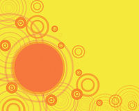 Yellow frame with orange circl. Computer generated illustration of yellow frame with orange circles Stock Photo