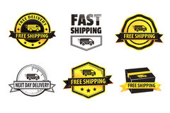 Yellow Free Shipping Badges. Yellow and black modern badges (free shipping, fast shipping and next day delivery) using a truck icon and a box shape Royalty Free Stock Images