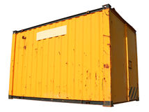 A yellow freight container. A yellow ship freight container, isolated on a white background Stock Photo