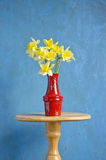 Yellow fresh spring narcissus in red vase Stock Photo