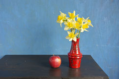 Yellow fresh spring narcissus in red vase. Beautiful still life Royalty Free Stock Photo