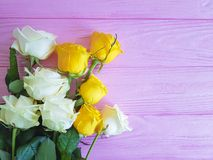 Yellow rose on pink wooden place for text vintage festive freshness summer birthday Royalty Free Stock Photos