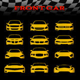Yellow front body car and Checkered flags vector set design Stock Photography