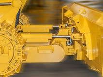Yellow excavator bucket. Yellow front bucket of heavy crawler excavator stock photo