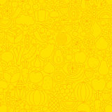 Yellow Fruit Vegetable Line Tile Pattern. Thin Yellow Fruits Vegetables Line Seamless Pattern. Vector Website Design and Tile Background in Trendy Modern Outline Stock Image