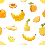 Yellow fruits seamless pattern over white background Royalty Free Stock Photography