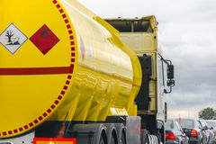 Yellow fuel tank. Standing in a traffic jam Stock Image