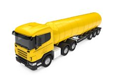 Yellow Fuel Tanker Truck. Isolated on white background. 3D render Stock Photo
