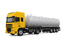 Yellow Fuel Tanker Truck. Isolated on white background. 3D render Royalty Free Stock Image