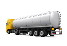 Yellow Fuel Tanker Truck. Isolated on white background. 3D render Stock Image