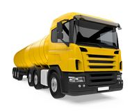 Yellow Fuel Tanker Truck. Isolated on white background. 3D render Royalty Free Stock Images