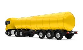 Yellow Fuel Tanker Truck. Isolated on white background. 3D render Stock Images