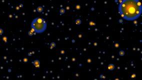Yellow full-spheres in blue light stock video