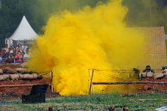 Yellow fume on the battle field. Stock Photo