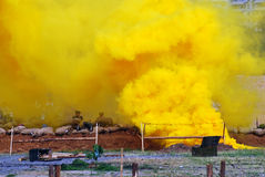 Yellow fume on the battle field. Royalty Free Stock Image