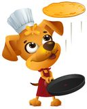 Yellow fun dog chef cook throws pancake. Isolated on white vector cartoon illustration Royalty Free Stock Photo