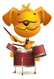 Yellow fun dog Drummer beats drums. On white vector cartoon illustration Stock Photography