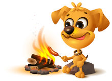 Yellow fun dog fries sausage at fire stake Royalty Free Stock Photography