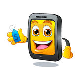 Yellow fun mobile phone cartoon with blue price tag dollar sign Stock Images