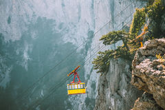 Yellow Funicular Cable cabin high transportation Royalty Free Stock Image