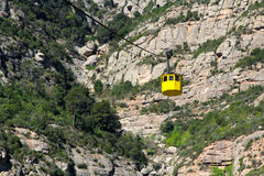 Yellow funicular in Montserrat Mountains Stock Photography