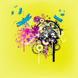 Yellow funky nature graphic vector illustration