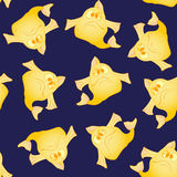 Yellow funny fish seamless pattern. Marine and underwater themes Royalty Free Stock Photography
