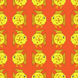 Yellow funny fish seamless pattern Royalty Free Stock Photography