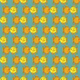 Yellow funny fish seamless pattern. Vector illustration Stock Photo