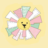 Yellow Funny Sun in Patchwork Style Isolated Stock Image