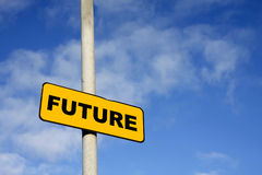 Yellow Future sign. Against a blue sky Stock Photo