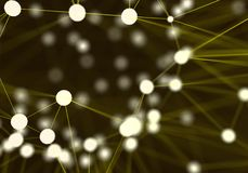 Yellow futuristic abstract network nodes background. Technology Stock Photos
