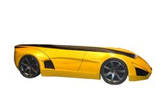 Yellow Futuristic Concept Car Royalty Free Stock Photo