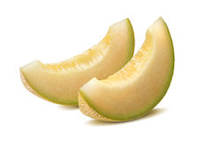 Yellow galia melon pieces isolated royalty free stock photography