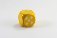 Yellow Game Dice Stock Photography