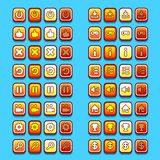 Yellow game icons buttons icons, interface, ui Royalty Free Stock Photography
