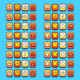 Yellow game icons buttons icons, interface, ui Stock Image
