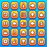 Yellow game icons buttons Stock Photos